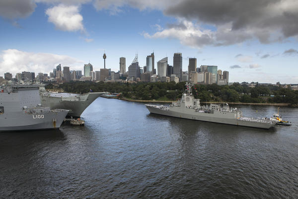 ESPS Cristobal Colon of the Spanish Armada approaches Fleet Base East, Sydney, passing HMA Ships Choules and Canberra. Credit: Defence