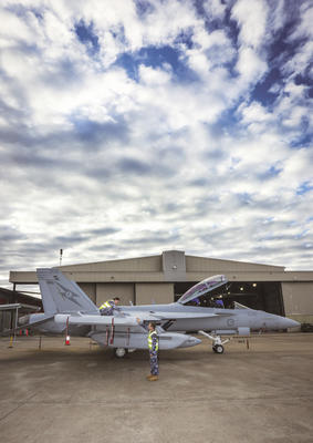 Routine checks are performed on a newly arrived EA-18G Growler at No. 6 Squadron, RAAF Base Amberley. Credit: Defence