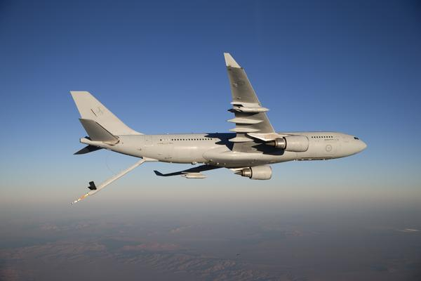 A RAAF KC-30A MRTT with refuelling probe extended during trials.  Credit: Defence
