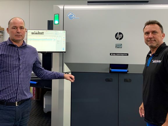 First in Australia: Jason Milligan (left) and Anthony De Stefani of Allclear with the new HP Indigo 12000 HD