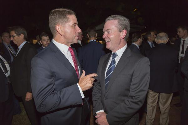 Minister Pyne and Cameron Dick, QLD Minister for State Development, Manufacturing, Infrastructure and Planning, were getting along like a house on fire at the welcoming drinks. The State is hoping to reap benefits from the imminent $5b Land 400 Phase 2 decision. Credit: ADM Leigh Atkinson