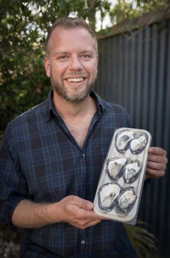 Sustainable steps forward: Blue Harvest managing director Scott Walter with the new oyster packagaing supplied by BioPak.
