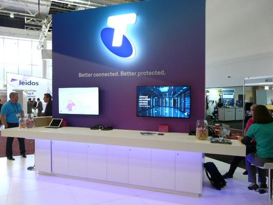 Telstra's stand at MilCIS 2017 – Better Connected. Better Protected is the Defence Engagement team's mantra. Credit: ADM Patrick Durrant