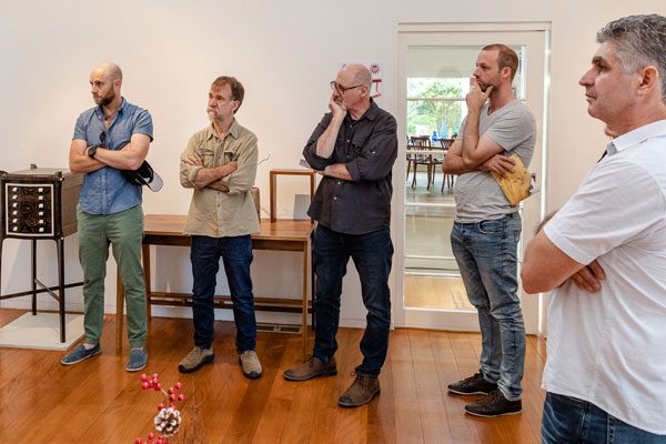 Could this be one of the 'polarising' moments that Ian Higgs refers to? Left to right: SWA members and exhibitors Warwick Jones, Ian Higgs, Will Matthysen, Tim Noone, Kanun Onsel. Photo: Julijana Griffiths