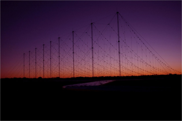 A Jindalee Operational Radar Network (JORN) transmitter site at sunset, Harts Range, Alice Springs. Credit: Defence