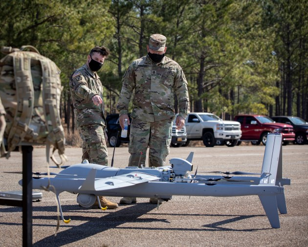 Image shows Textron Systems' Aerosonde HQ at the US Army's FTUAS Rodeo in February 2021. (Credit: Luke Allen, via DVIDs)