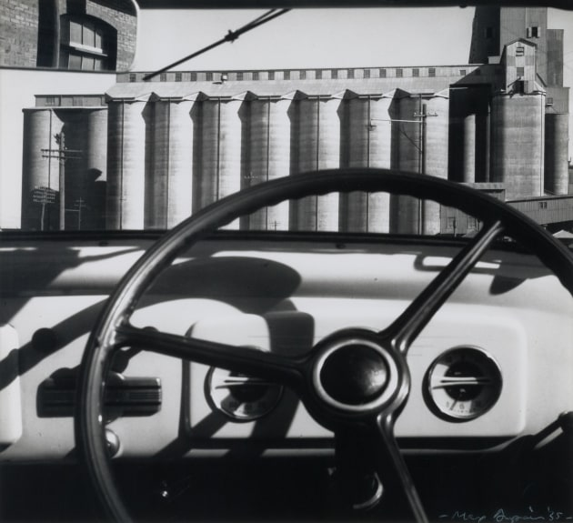 Max DUPAIN (1911–1992), Silos through windscreen (1965/2005), silver gelatin photograph, gift of the Russell Mills Foundation, 2015, MAMA collection.