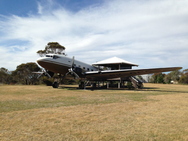 The restored DC3 Dakota at the Lily Dutch Windmill. (Shelley Ross)