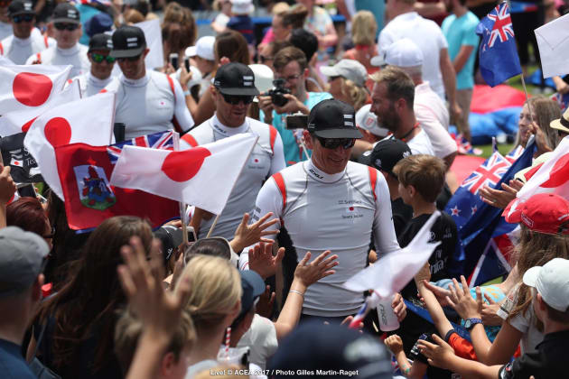 The all-male crews are introduced to the crowd. Photo Gilles Martin-Raget/ACEA.
