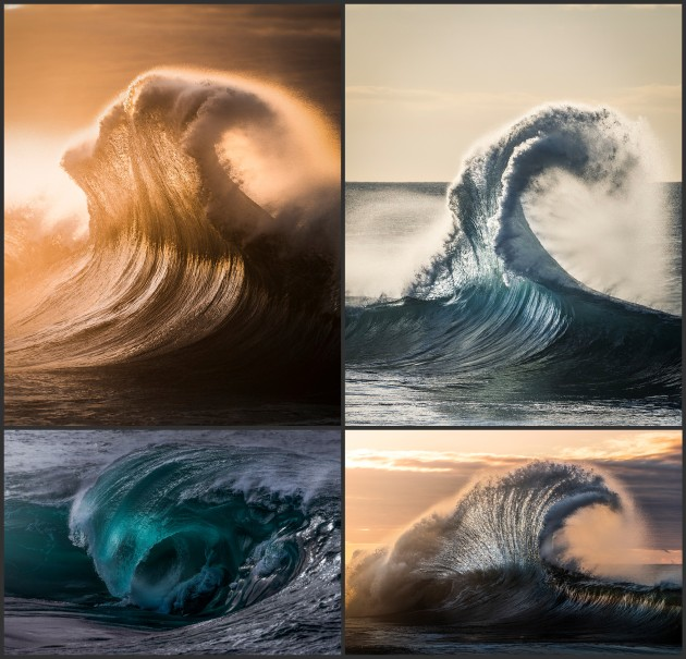 Ian Hollis' runner-up portfolio in the Action category showcased his talent for capturing waves. Even though the subjects are all the same, every image is distinct, especially so with the lighting and framing.