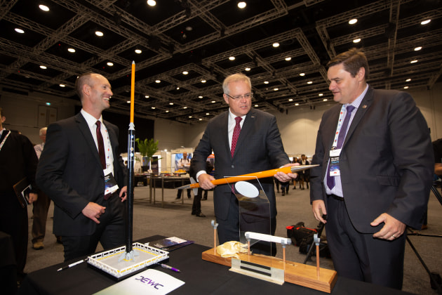 PM Scott Morrison holding a DART model at the 9th SA Space Forum. (Supplied)