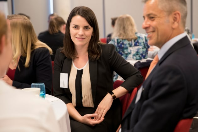 "Caitlin Hoey of QinetiQ Australia at the 2017 Industry mentoring program ""The Future Through Collaboration"", which aimed to tackle gender diversity issues. Defence"