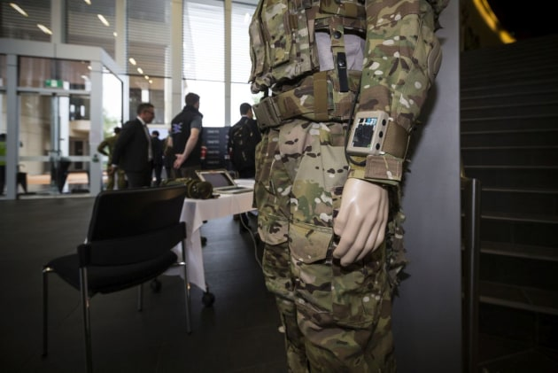 A dummy display of Spearpoint Solutions and Technology's Ground Warfare Acoustical Combat Systems detection system at the Army Innovation Day 2017. Credit: Defence
