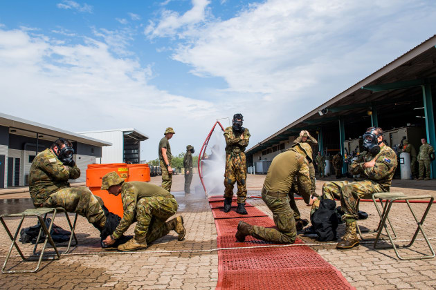 Soldiers of 1st Combat Engineer Regiment takes the trainees through a Chemical Biological Radiological Nuclear (CBRN) decontamination training during a visit by the Army Indigenous Development Program to Robertson Barracks last year. 