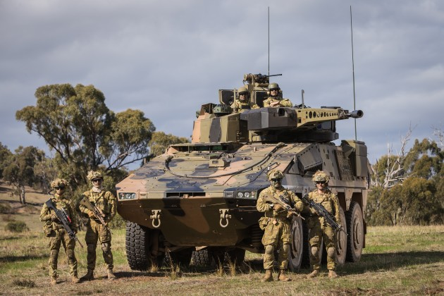 Australian Army soldiers with the Rheinmetall Boxer Combat Reconnaissance Vehicle during Exercise Chong Ju at Puckapunyal training area, Victoria, on 16 May 2018. Defence