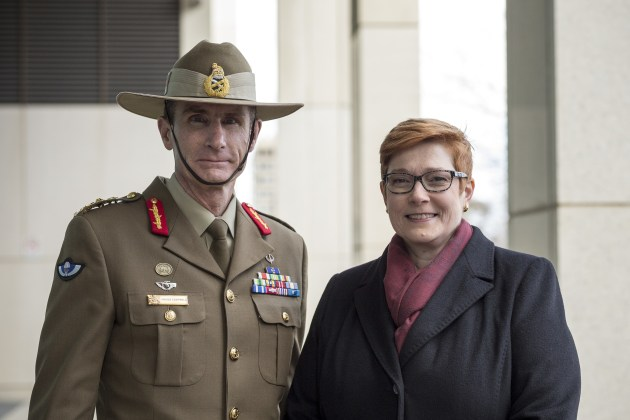 Chief of Defence Force, General Angus Campbell, and Minister for Defence, Senator Marise Payne. Defence