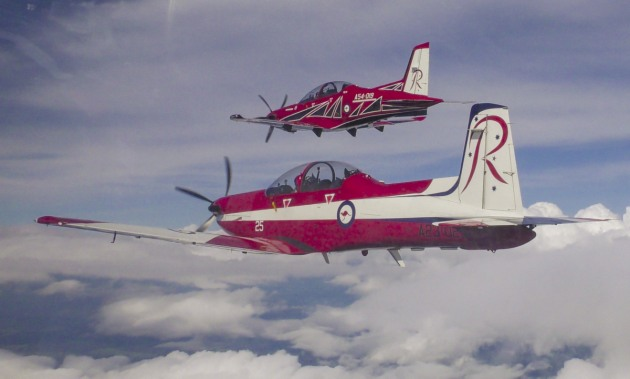 Swiss company Pilatus is providing PC-21s (pictured in rear) to the RAAF. Credit: Pilatus