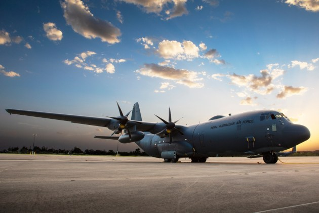 No 37 Squadron C-130J A97-448 displaying a range of modifications on the RAAF Base Richmond flight line. Credit: Defence