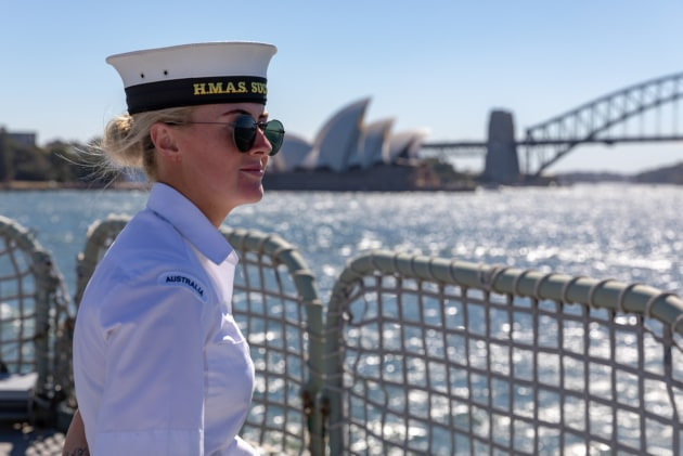 HMAS Success has entered Sydney Harbour for the final time before decommissioning at Garden Island on June 29. Credit: Defence