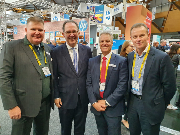 Official party: (from left) Andrew Macaulay, CEO PIAA; Alister Henskens, NSW cabinet secretary; Walter Kuhn, president PIAA; Mitch Mulligan, Bottcher Australia