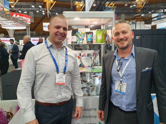 Mark Daws, director of labels and packaging at HP Indigo distributor Currie Group (right) with Andrew Crump.