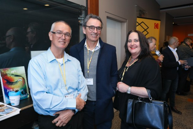 Hans Oerlemans and Craig Dunsford, Ovato, and Meredith Darke, Stratex.