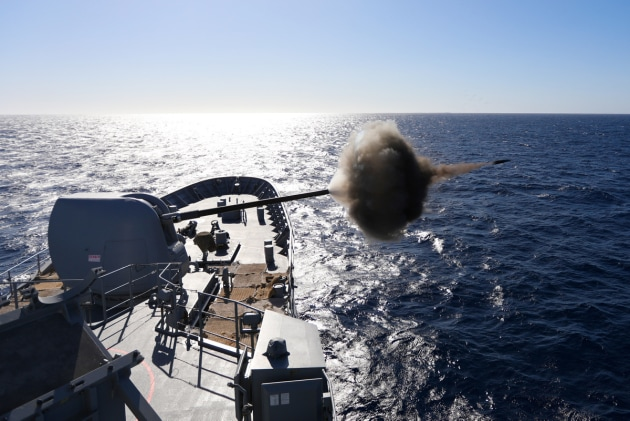 HMAS Arunta fires its 5-inch gun as part of a surface firing trial off the coast of Western Australia. (Defence)