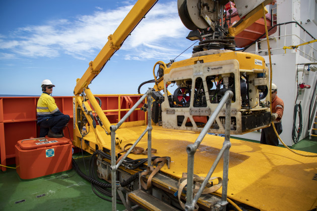 Paul Piercy from James Fisher Defence, conducts post operation checks on the embarked remotely operated vehicle onboard MV Besant during Exercise Black Carillion last year. (Supplied)