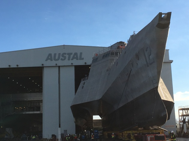 Roll out of LCS 12 Omaha from Austal USA at their Mobile, Alabama yard.