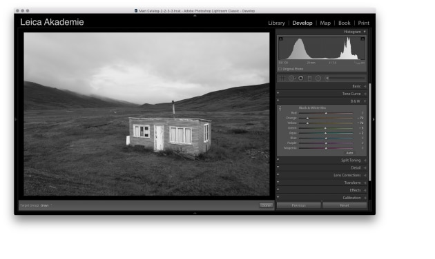 Changing to the B&W Pane in Lightroom allows me to darken the Oranges and Yellows (the grass) without changing the lightness of the hut or the sky. The hut now stands out much better and it's interesting to note that the curtains also darken slightly because they are cream coloured in the original.