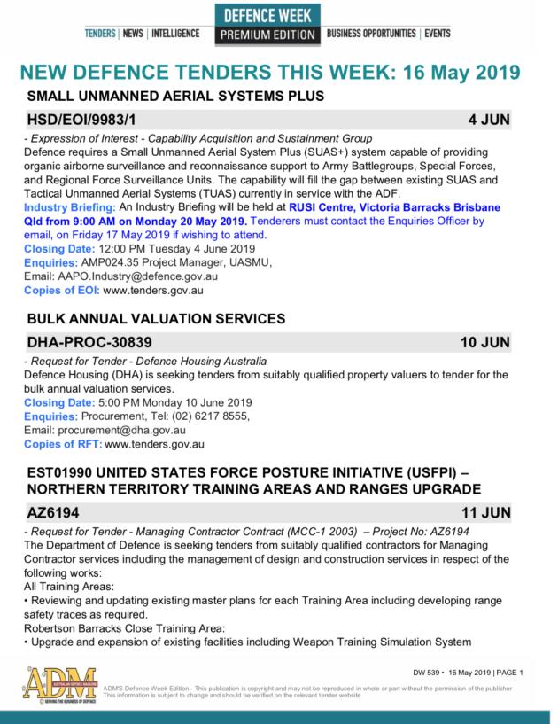 ADM's Defence Week 539 Tenders - Australian Defence Magazine