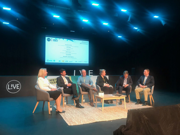 Sustainability at LIVE: (from left) Lindy Hughson, PKN; Jack Malki, Jet Technologies; Fred Soar, Soar Print; Brooke Donnelly, APCO; David Martin, Spicers; and Aleks Lajovic, Impact International