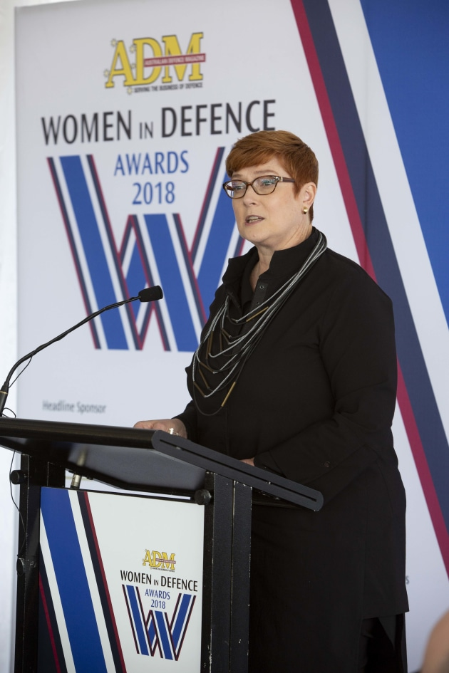 Minister for Defence Marise Payne speaking at the gala awards.