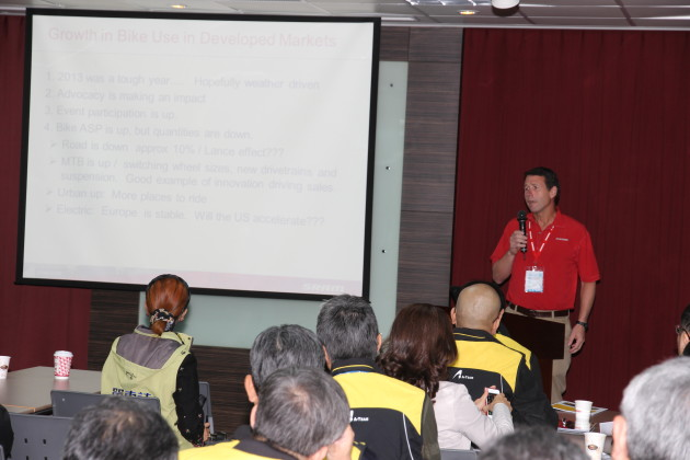 SRAM has always aligned itself very closely with Taiwan's bicycle manufacturing community and Taiwan remains home to key SRAM factories. Here Stan addresses the annual A-Team meeting about global bicycle industry trends.