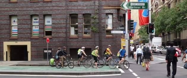 Commuter cyclists on one of the designated bike lanes in the Sydney CBD. Image: Sydney Cycleways