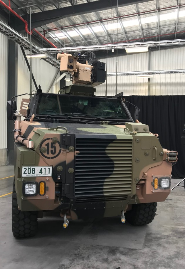 Bushmaster with RWS at EOS Canberra facility opening 30.1.2018