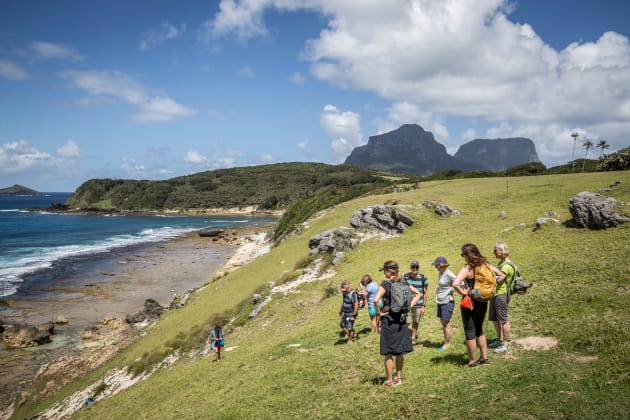 Hikers take a break on Lord Howe. Photo: Luke Hanson.