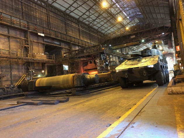 A Boxer 8x8 CRV in the Bluescope Steelworks at Port Kembla. Credit: Rheinmetall Defence Australia