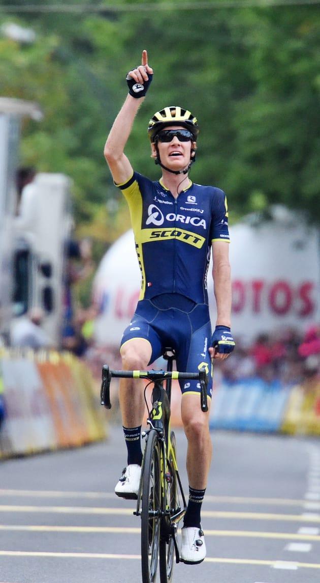 A thrilled Jack Haig enjoys his first WorldTour win. Image  Sirotti. f324de9c1