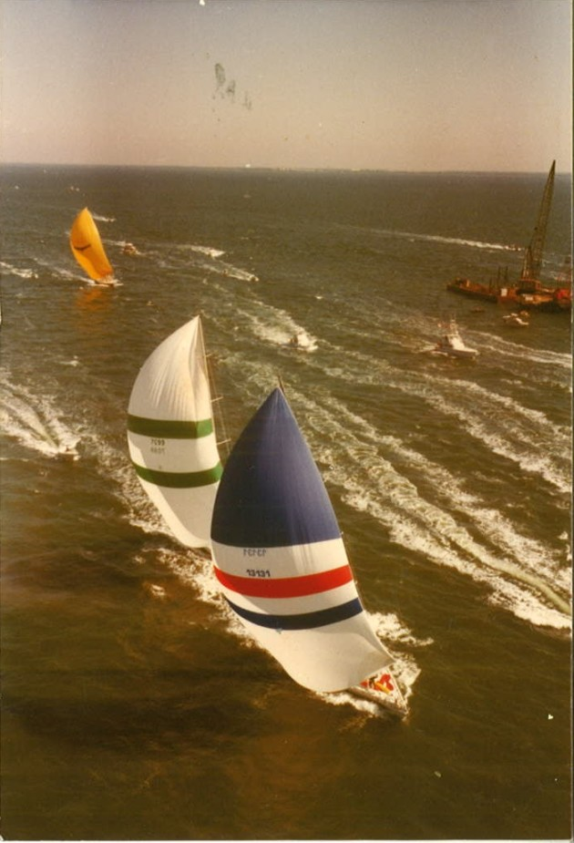 Us in front of course, Windward Passage pressing hard and Condor out the back door. I think this is the Miami-Nassau race of 1983.