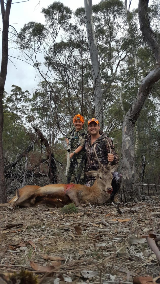 Lea Kremar and son - red stag down