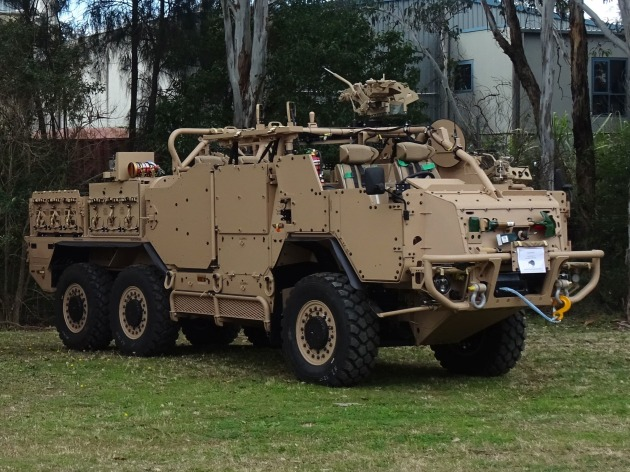 One of the new SOV-MH vehicles for the NZDF SAS. Its open architecture provides for various levels of protection and great variety in the roles and missions for which it can be configured.