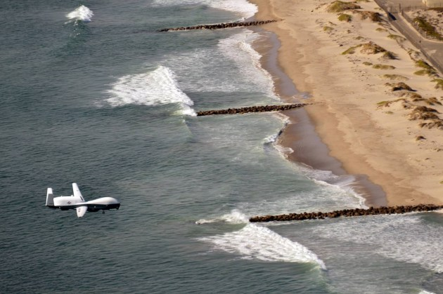 The first operational MQ-4C Triton comes in for a landing at Naval Base Ventura County, Point Mugu, on November 9. Credit: USN