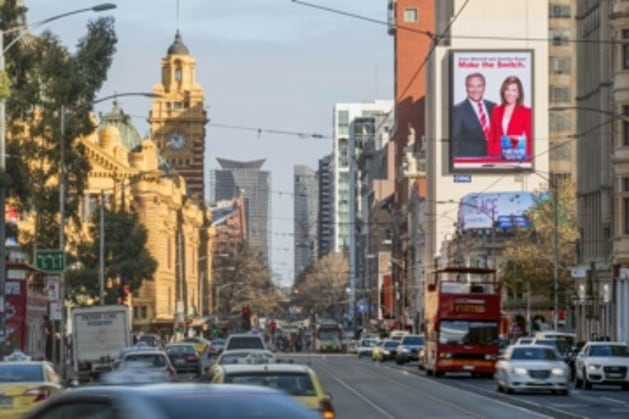 Digital drive: QMS digital site at the intersection of Swanston and Flinders Streets in Melbourne CBD