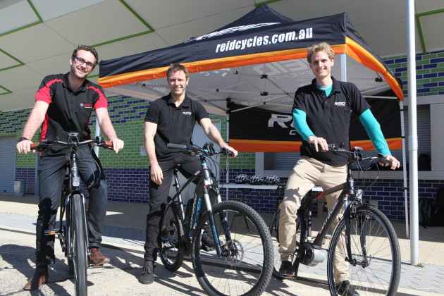 From left to right: Cameron Burke of Bosch, David Hannay from Reid Cycles and Valentin Muenzel at Reid Cycles' recent Corratec test ride day in Sydney.