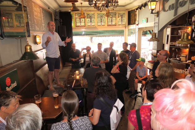 At least 28 Aussies made the long journey to attend Velo-city. Most of them met one evening, where else but at a local pub, where Bicycle Industries Australia Executive Officer Peter Bourke gave a brief speech to welcome them all.