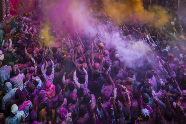 © Richard I'Anson. Holi festival at Banke Bihari Temple, Vrindavan, India.