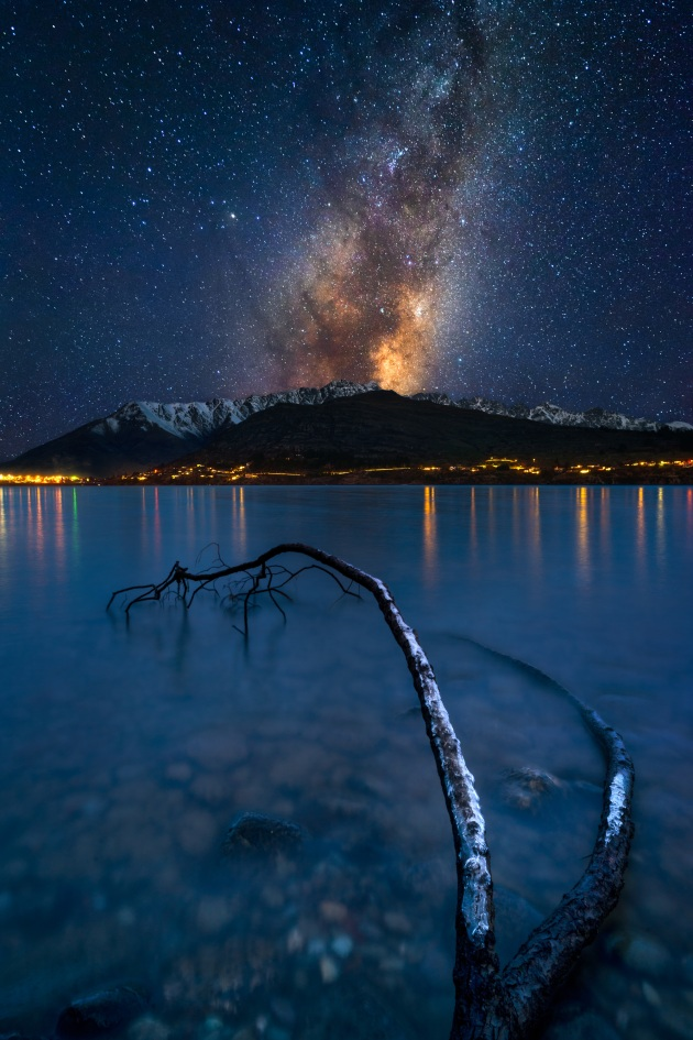 This photo is a composite, created using exposures taken during a two- hour period. The foreground and mountains were captured a little after the blue hour when there was still enough ambient light to shoot at f/16 and ISO 100. Once the ambient light was gone and the stars began appearing, I opened up my aperture to f/2.8, refocused my lens, and used the 500 rule to calculate my shutter speed. Sony A7R III, Zeiss Batis 18mm f/2.8 lens. 61s @f16, ISO 100 (Foreground); 25s @f2.8, ISO 1600 (Sky).