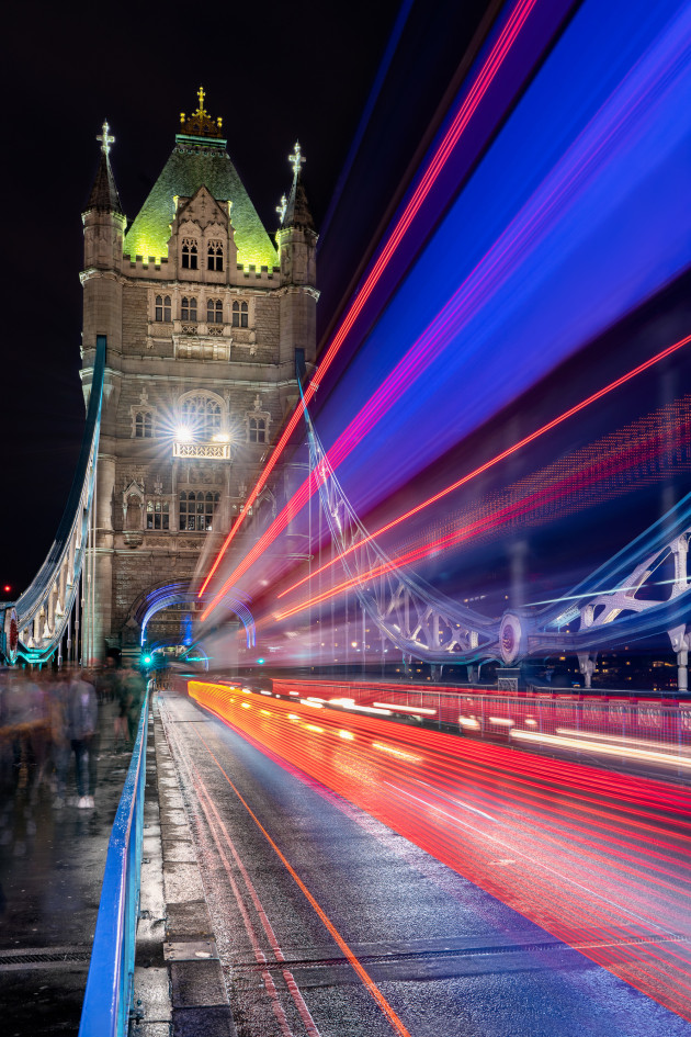While taking test exposures to calculate my shutter speed, I noticed how, unlike the light trails created by cars, London's iconic double-decker buses were creating converging leading lines. These unique light trails were coming in from the corners of the frame and tapering into the tower. Once I had my shutter speed set, it was just a matter of waiting for the right bus to pass by and correctly time my shutter release. Sony A7R III, Sony FE 16-35mm f/2.8 lens @ 32mm. 8s @ f13, ISO 100.