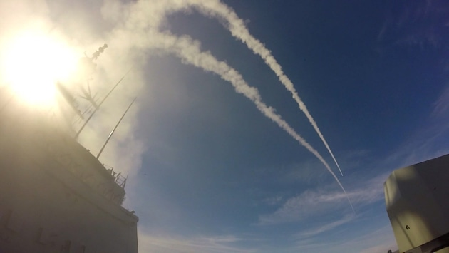 Two Evolved Sea Sparrow Missiles (ESSM) are fired from HMAS Hobart during test firings off the US West coast. Defence